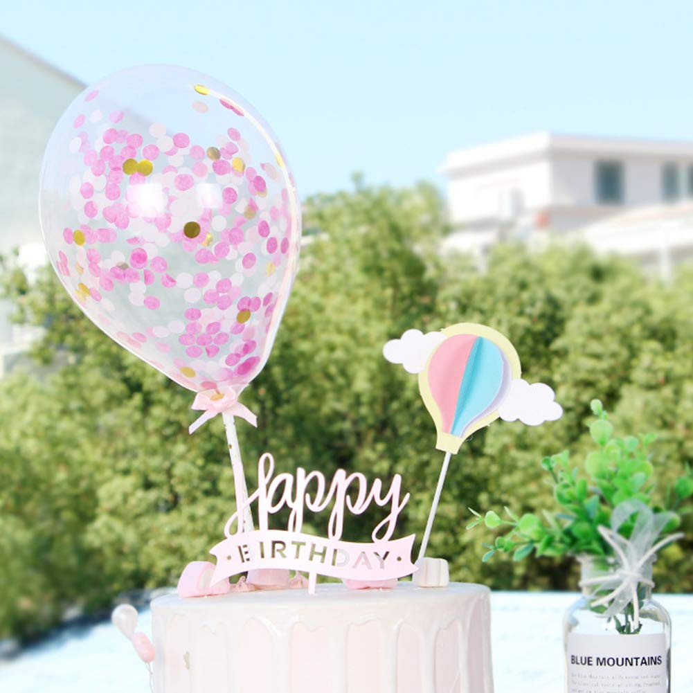 Ruiting Cake Topper,Decoraci/ón de Tarta en Forma de Globo Aerost/ático y Nube Decoraci/ón para Pasteles Cake Topper Cumplea/ños Boda San Valent/ín 4pcs