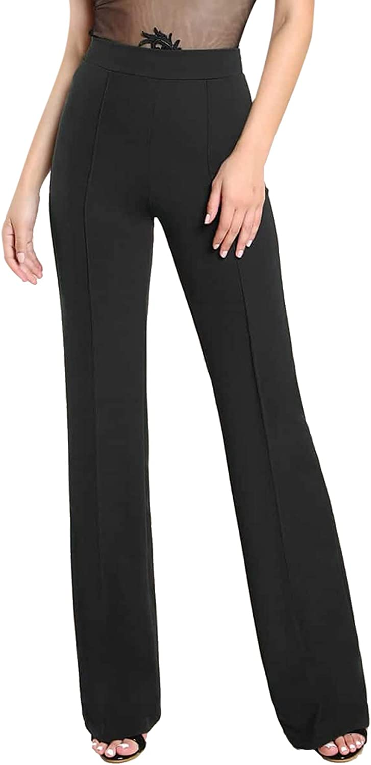 SOLY HUX Women's High Waisted Straight Leg Long Pants Trousers