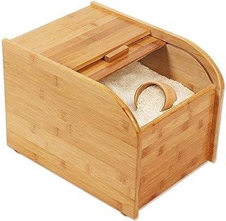 AWAING Bocaux Conteneurs de céréales avec mesure tasse de riz Boîte de rangement en bambou bois Thicken Seal Cuisine Grain...