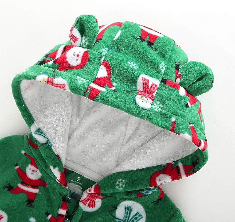 Beb/è Babbo Pupazzo Stampa Tutine Body da 3 A 24 Mesi Bambino Jimmackey Neonato Natale Incappucciato Pagliaccetto