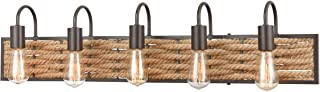 Bathroom Vanity 5 Light Fixture with Oil Rubbed Bronze Finish Natural Rope/Steel Material E26 36