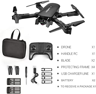 MoJoyo R8 Drone HD 4K Antena de Cuatro Ejes Aeronave Aeronave de Doble cámara con 2 baterías, Flujo de luz Negra