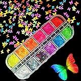 Kalolary 12 Colores Mariposa Lentejuelas Holográficas de Uñas Nail Art Decoración Purpurinas Confeti Uñas Nail Art Glitter Brillos para Manicura y Diseños de Uñas (G)