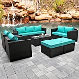 Rattaner Outdoor PE Wicker Furniture Set 7 Pieces Patio Garden Conversation Cushioned Seat Couch Sofa Chair Set with Turquoise Cushion and Furniture Covers, Black PE Rattan