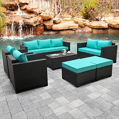 Rattaner Outdoor PE Wicker Furniture Set 7 Pieces Patio Garden Conversation Cushioned Seat Couch Sofa Chair Set with Turquoise Cushion and Furniture Covers