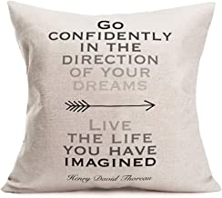 ShareJ Go Confidently in The Direction of Your Dreams/Live The Life You Have Imagined Henry David Thoreau Inspirational Quote Throw Pillow Covers Cotton Linen Cushion Cover for Sofa Couch 18 x 18 Inch