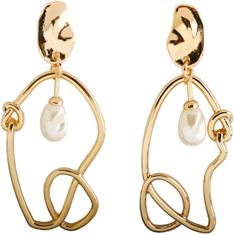 GSYDSZ Trendy Imitation Pearls Knot Hollow Metal Earrings Elegant Large Asymmetrical Earrings Swing for Women Jewelry