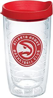 Tervis NBA Atlanta Hawks Circle Logo Tumbler with Emblem and Red Lid 16oz, Clear