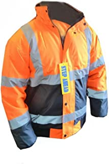 Men's Hi Viz High Vis Visibility Bomber Work Jacket Coat