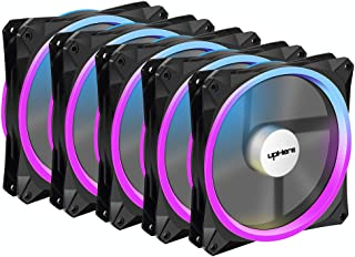 upHere RGB Series Case Fan RGB143-5, Wireless RGB LED 140mm Fan,Quiet Edition High Airflow Adjustable Color LED Case Fan for PC Cases-5 Pack,RGB143-5