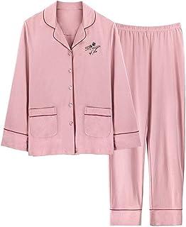 LGLE Pijamas Mujer Algodón Manga Larga Casa Escote en V Simple Casa Ropa Hogar