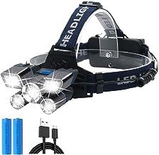 Multifunctionele campingverlichting, waterdichte USB-oplaadbare LED-koplampen met rode en blauwe waarschuwingslichten 9 st...