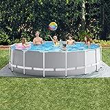 YQZ 14ft x 48'Round Prism Frame Pool Set, Rahmen über dem Boden Schwimmbad mit Filterpumpe, Leiter,...
