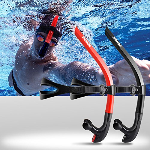 ZIONOR T1 Snorkel Lap Swimming Swimmer Training Diving Snorkeling Comfortable Mouthpiece One-Way Purge Valve for Pool Open Water - Black