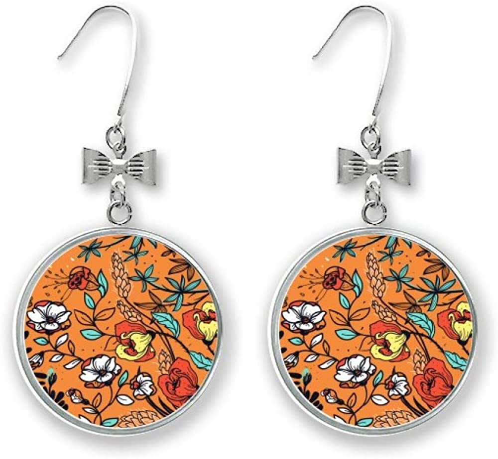 Orange Modern Art Lily Award Camellia Bow Pierced Earrings Max 58% OFF Drop H Stud