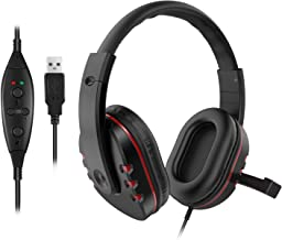 LESHP USB Wired Headphone with Stereo Micphone Fashion Gaming Headset Noise Cancelling Soft Memory Earmuffs for Sony PS4 PS3 PC Game