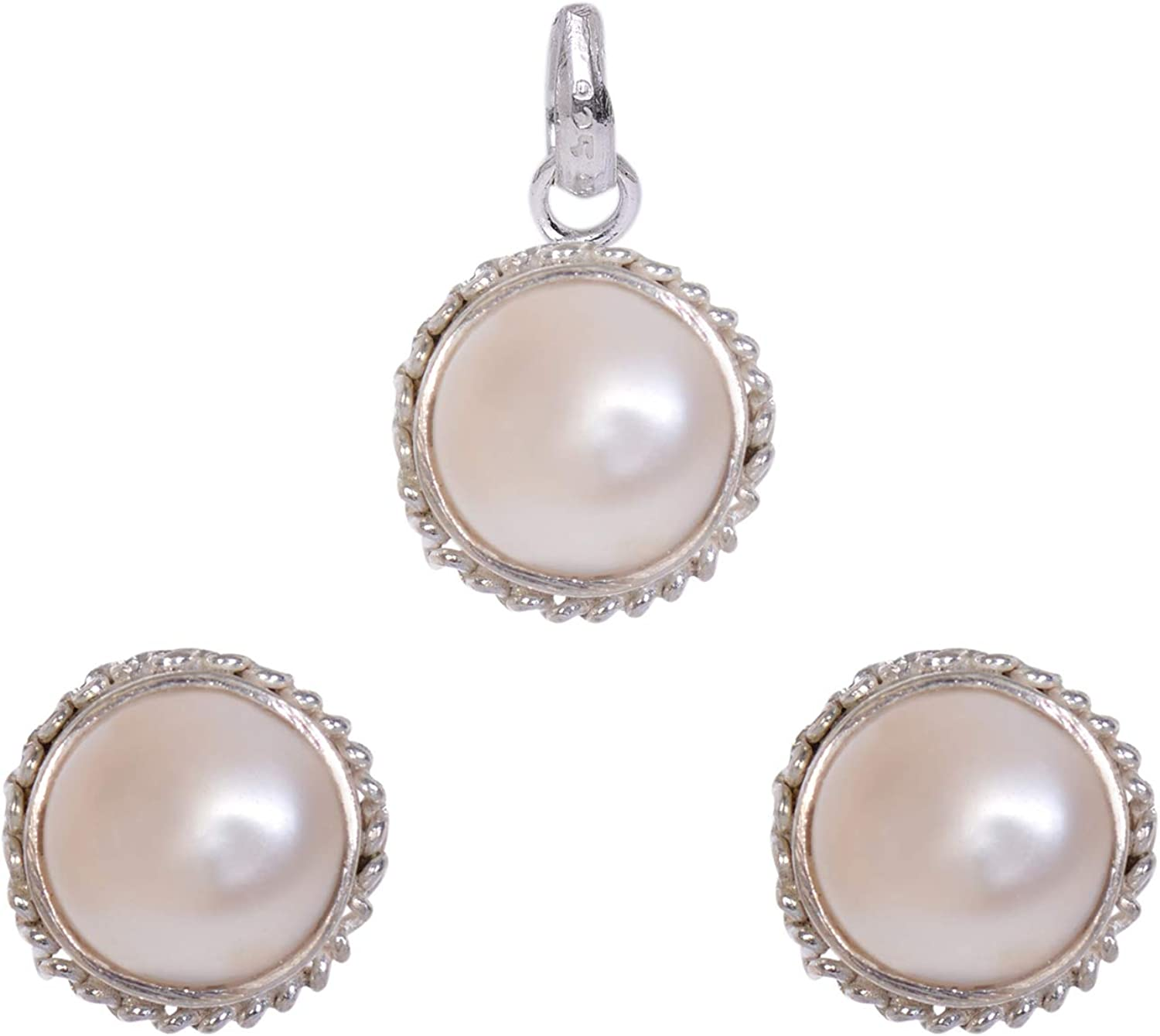 Silverwala 925-92.5 Sterling Silver Pearl お求めやすく価格改定 新作 Set Stone Pendant For