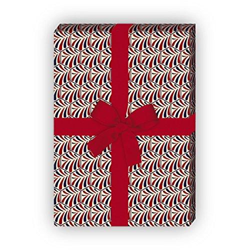 Elegant cadeaupapier set (4 vellen) / decoratief papier met jugendstil tegels, donker om betoverende geschenken nog mooier te geven 32 x 48 cm