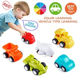 VATOS Toddler Car Toys, 6 Pack Toy Cars for 1 2 Years Old with Free Wheel City Traffic Little Cars,Toy Cars for Toddlers Early Educational Toddler Toys