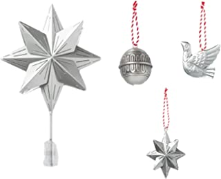 Hearth & Hand Holiday Farmhouse Tree Topper Metal Ornaments Bird Ball Star 4 PC