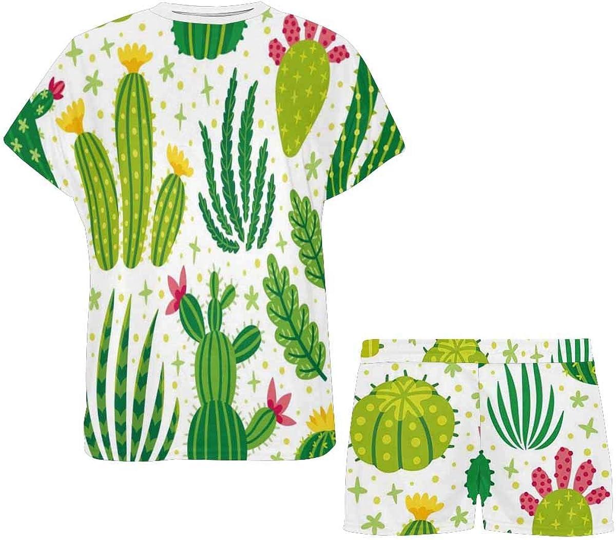 INTERESTPRINT Different Cactus Women's Breathable 2 Piece Shorts Pajama Sleepwear Set
