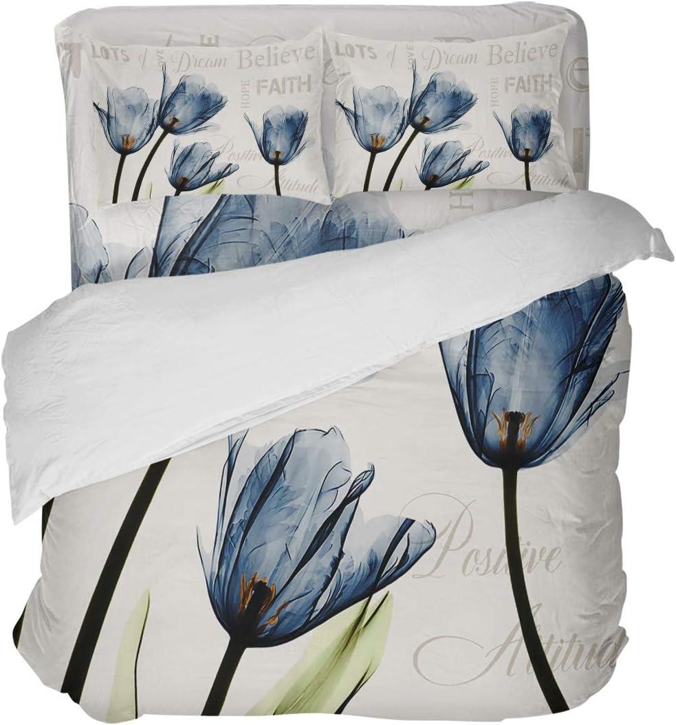 ●日本正規品● LOVE HOME ラッピング無料 DAY Watercolor Blue Tulip Ul Text Healing Sets Bedding
