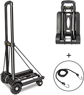Bonnlo Folding Luggage Cart Folding Hand Truck Lightweight Portable Hand Cart with 4 Fixed Wheels (38.2