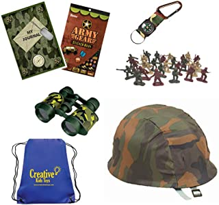 Creative Kids Toys Army Combat Dress Up Military Costume Fun History Kit with Green Army Men Soldiers, Camo Helmet, Binoculars,Compass,Military Stickers and Camo Blank Journal Diary