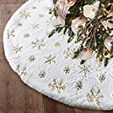 yuboo Christmas Tree Skirt,48' White Faux Fur with Gold Sequin Xmas Tree Skirt for Holiday Party