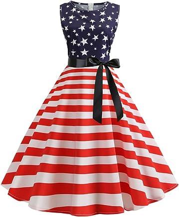 ZHENBAO Womens 1950s Vintage Halter Dress Patriotic American USA Flag Print Party Cocktail Swing Dress