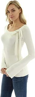 PattyBoutik Women Scoop Neck Tie Bow Bell Sleeve Sweater