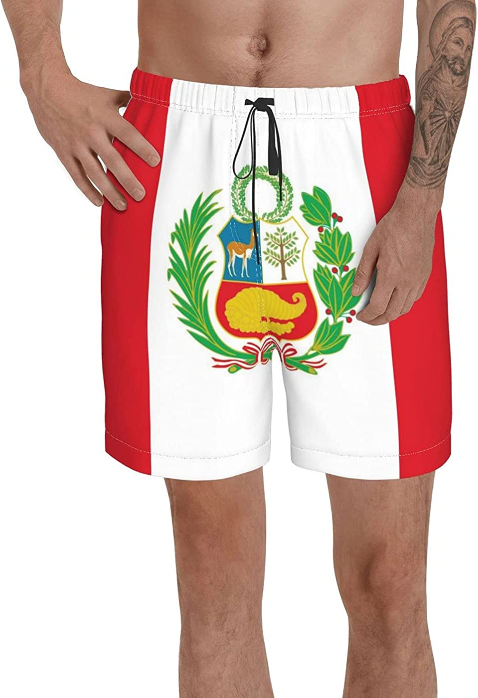 Count Peru Flag Men's 3D Printed Funny Summer Quick Dry Swim Short Board Shorts with