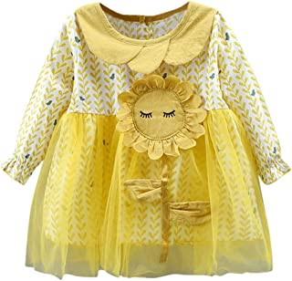 Baptism Gifts for Baby Girl,Toddler Baby Girls Long Sleeve Floral Tulle Princess Sunflower Dresses Clothes