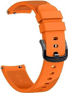 Garmin Watch Band 20mm Soft Silicone Watch Strap Vivoactive 3 Music/Forerunner 645 Music/Vivomove HR/Samsung Gear S2/Galaxy 42mm/Gear Sport Watch/Huawei 2 Wristband by Artio (Orange)