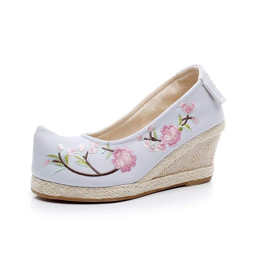 仮装意気込み観客春の弓の靴古い北京の布の靴女性の衣装Hanfu National Wind Squat Shoes刺繍入りの靴 (色 : 青, サイズ さいず : 36)