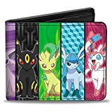 Buckle-Down mens Pu Bifold Wallet - Eevee Pokemon Evolution Panels, Multicolor, 4.0' x 3.5'
