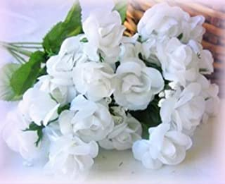 Inna-Wholesale Art Crafts New 20 White Mini Open Roses Artificial Silk Decorating Flowers Table Centerpiece - Perfect for Any Wedding, Special Occasion or Home Office D?cor