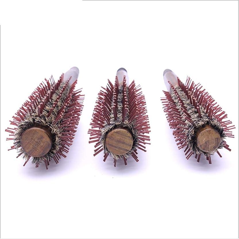 安定しました詳細にそれから木のハンドルが付いている自然なイノシシの剛毛の円形のヘア?ブラシ、円形の櫛の直線11インチの長さ、毛の乾燥のためのスタイリングの基本、スタイリング モデリングツール (サイズ : L)