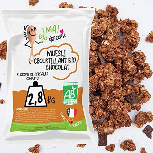 [Ma] bio-épicerie | Muesli croustillant Chocolat BIO | 2,8 Kg | Sachet vrac | Certifié biologique | Chocolat et gourmand