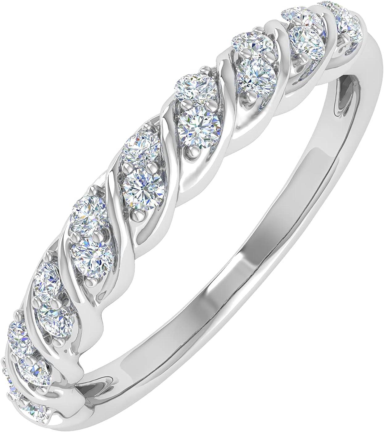 1/4 Carat Diamond Wedding Band Ring in 14K Gold