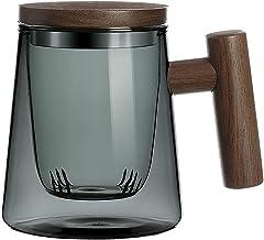 Glass Tea Mug InfuserandLid, Coffee cups glass withWoodenHandleforBloomingTea & Loose Leaf Tea,CyanGlassTeacups...