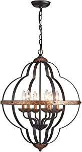 TZOE Orb 6-LightChandelier,RusticVintage Metal Chandelier,Black&Copper,Foyer Chandelier,Adjustable Height,DiningLight,Bedroom Lights,Living Room Lighting,KichlenChandelier UL Listed