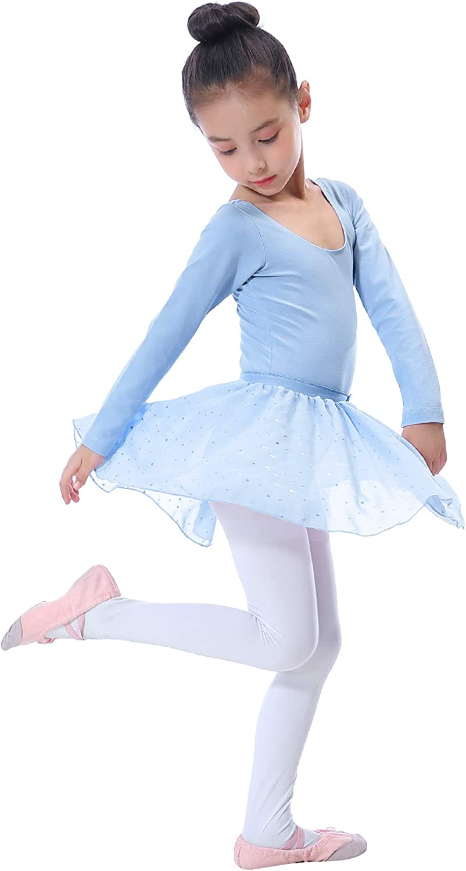 Dallas Mall Sykooria Limited price Girls 2 Pieces Long Glitter Sleeve Ballet Ruffl Leotard