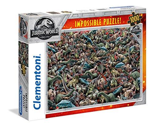 Clementoni- Puzzle Impossible Jurasic World 1000 pzas, (39470)