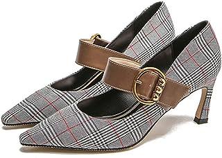 VIVIOO Bombas de Mujer Retro Zapatos de tacón Alto Hebilla Correa Zapatos de Mujer Guinga Tacones Finos Punta Estrecha Zapatos de Fiesta Mujer Tallas Grandes
