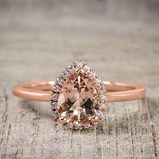 pear shaped morganite and diamond ring