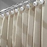 mDesign Cortinas de ducha originales – Las cortinas de ducha de algodón que le dan un toque diferente a su baño – Medidas 180x180 cm – topo