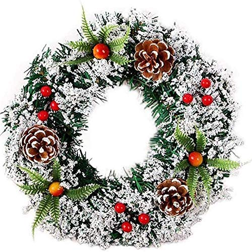 Wythe Christmas Wreath Front Door Wreath Outdoor Wall Hanging Ornaments Red Bowknot Jingle Bells Garland Christmas Decoration Gifts for Christmas Party Easter Thanksgiving Day Decor (30cm)