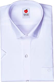 RIRO Men's Half Sleeves Plain Cotton Regular Fit Formal/Traditional White Shirt