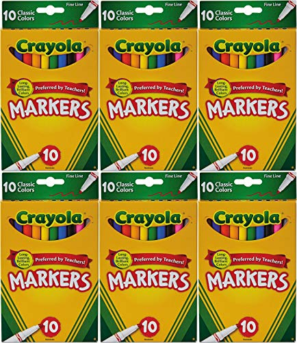 Crayola Classic Colors Fine Line 10 Markers Per Pack (Pack of 6) 60 Markers In Total